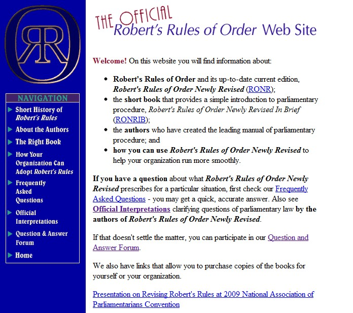 robert s rules of order meeting minutes