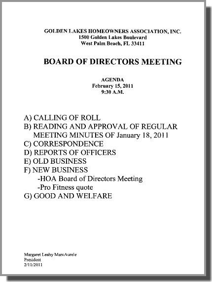 notice of board meeting  u2013 glv homeowners assoc  board of directors  u2013 tuesday morn