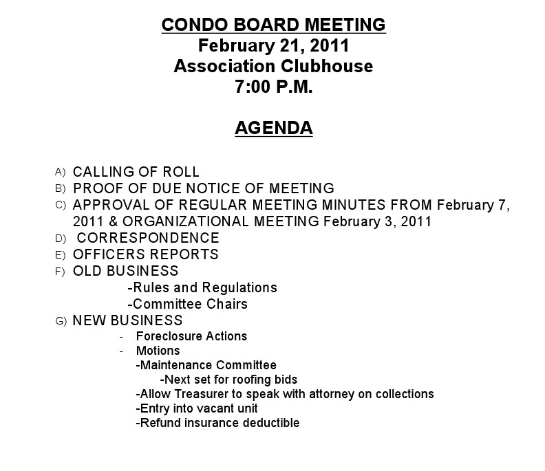 Monday night board meeting village condominium for Notice of board meeting template