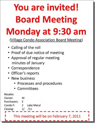 Sample of bigger meeting notice format for board meetings for Notice of board meeting template