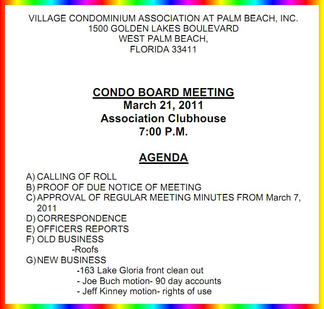 notice of board meeting � monday evening 7pm � village