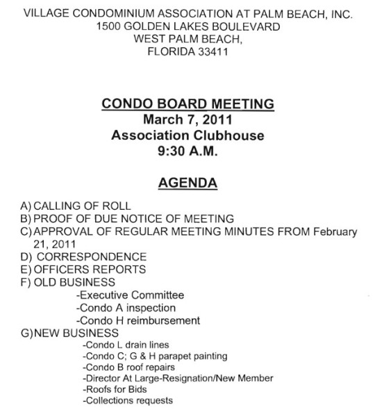 Notice Of Board Meeting – Village Condominium Association, 9:30 Am