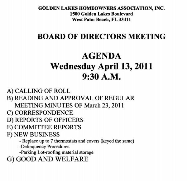 notice of hoa board meeting golden lakes homeowners association golden lakes village. Black Bedroom Furniture Sets. Home Design Ideas