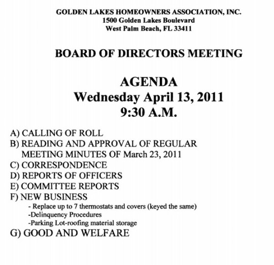 notice of hoa board meeting  u2013 golden lakes homeowners association  u2013 golden lakes village