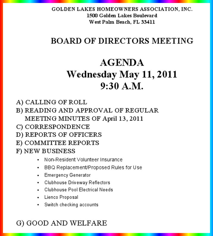 Notice of hoa board meeting wednesday may 11 9 30 am for Notice of board meeting template