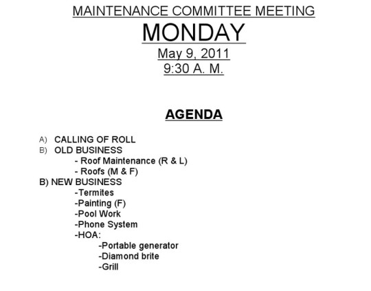 Notice of Maintenance Committee Meeting for Monday, May ...