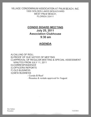 Notice of board meeting golden lakes village 9 30 am for Notice of board meeting template